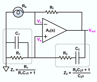 Wien bridge oscillator - In this version of the oscillator, Rb is a small incandescent lamp. Usually R1 = R2 = R and C1 = C2 = C. In normal operation, Rb self heats to the point where its resistance is Rf/2.