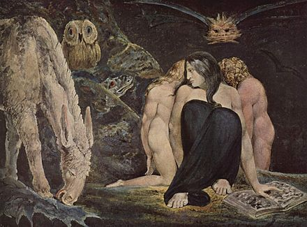 The Night of Enitharmon's Joy, 1795; Blake's vision of Hecate, Greek goddess of black magic and the underworld William Blake 006.jpg