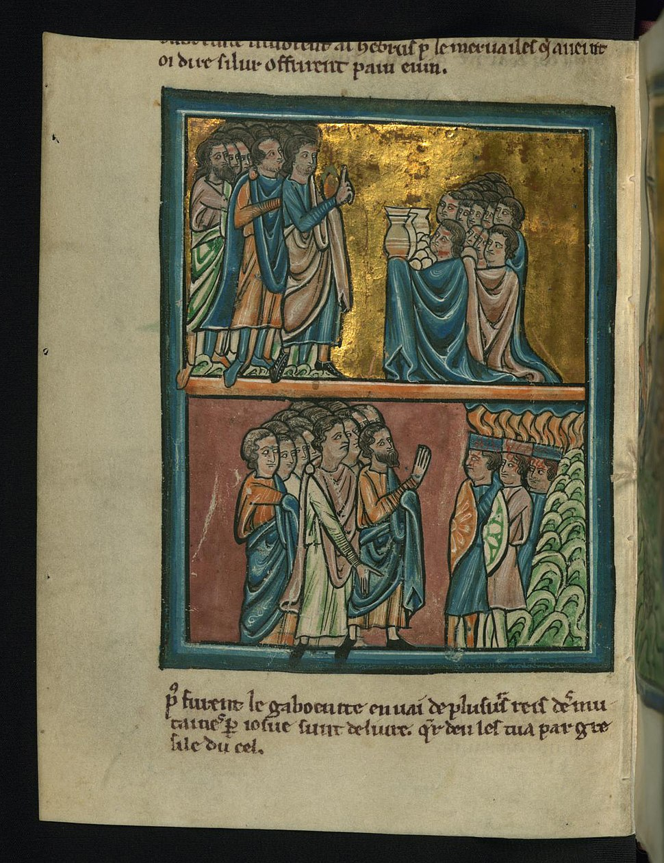 William de Brailes - Top - The Gibeonites Make Peace (Joshua 9 -3-15) - Walters W10619V - Full Page