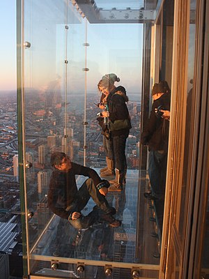 English: Glass balcony at the skydeck of the W...