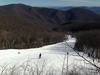 Nelson County, Virginia - A view down a ski slope at Wintergreen Resort, Nelson County, Virginia