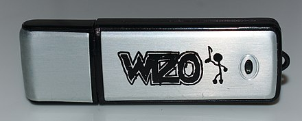 The German band Wizo's Stick EP, released in 2004, was the first album released on a USB stick. Wizo USB Stick.jpg