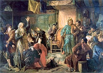 Vytautas - Vytautas and Kęstutis imprisoned by Jogaila. Painting by Wojciech Gerson