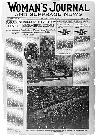 Woman suffrage parade of 1913 - March 8, 1913 front page of Woman's Journal