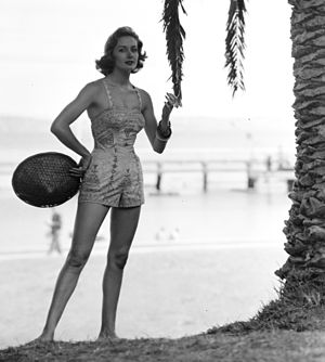 1952 in Australia - Woman modelling a playsuit,1952. Photo from the Australian National Maritime Museum.