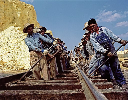 Gandy Dancers Adjusting Railroad Tracks, Texas Gulf Sulphur Company