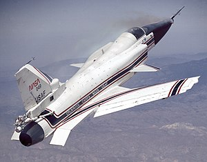 Grumman X-29 - X-29 with aft control surfaces deflected