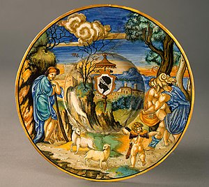 """Francesco Xanto Avelli - Francesco Xanto Avelli, """"Broad-rimmed bowl with Neptune raping Theophane; arms of Pucci with an 'ombrellino'"""", 1532"""