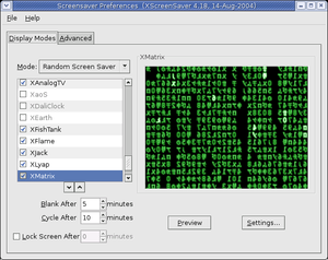 Screensaver - XScreenSaver displaying a ''Matrix''-style screensaver