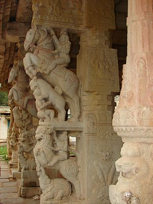 Chikkaballapura district - Yali pillars at Ranganatha temple, Rangasthala