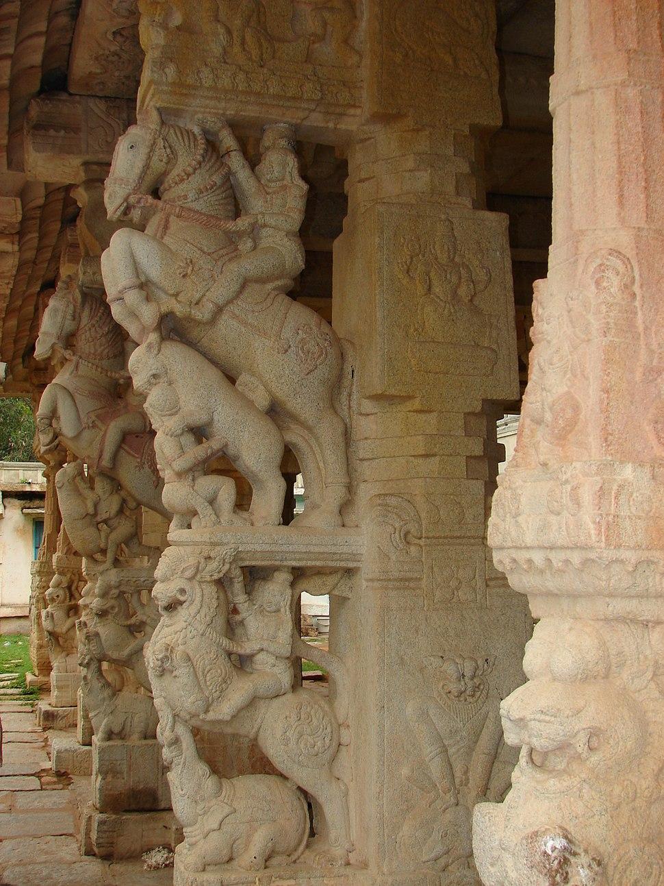 Yali pillars1 at Ranganatha temple in Rangasthala, Chikkaballapur district