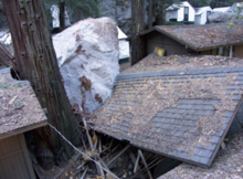 A photo showing cabin damage in Curry Village after the 2008 rockfall.