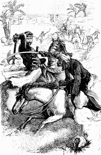 Battle of Tours - Western knight fighting against an Arabian horseman. (Illustration from the 19th century)