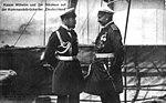 Zar Nikolaus II. und Kaiser Wilhelm II. auf der Kommandobrücke der SMS Deutschland.jpg