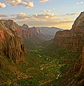 Zion Canyon at sunset in Zion National Park as seen from Angels Landing looking south