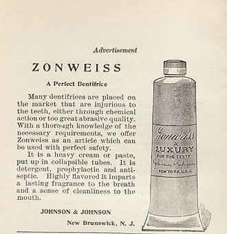 Tube (container) - 1889 advertisement for Zonweiss dentifrice in a collapsible tube