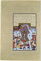 """Afrasiyab on the Iranian Throne"", Folio 105r from the Shahnama (Book of Kings) of Shah Tahmasp MET DP107132.jpg"