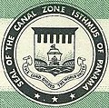"""""""SEAL OF THE CANAL ZONE ISTHMUS OF PANAMA"""" """"THE LAND DIVIDED THE WORLD UNITED"""" - Canal Zone Air Mail, 6c, 1965 Issue (cropped).jpg"""