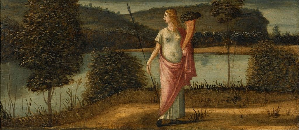 'Allegorical Figure of a Woman in a Landscape Holding Spear & Cornucopia' by Vittore Carpaccio