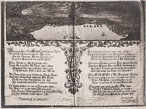 Christian VI of Denmark - Engraving of poem/speech by Peter Höyer held on Christian VI's and his queen arrival to the city of Trondheim.