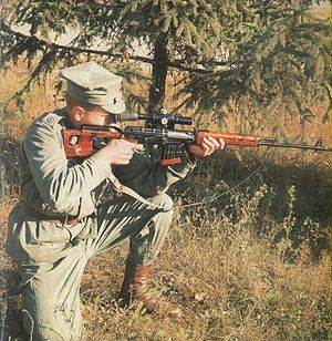 Polish Land Forces - Soldier aiming an SVD sniper rifle.