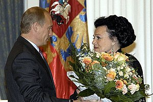 Lyudmila Zykina - President Vladimir Putin awards the Order of St. Andrew to Zykina, June 15, 2004