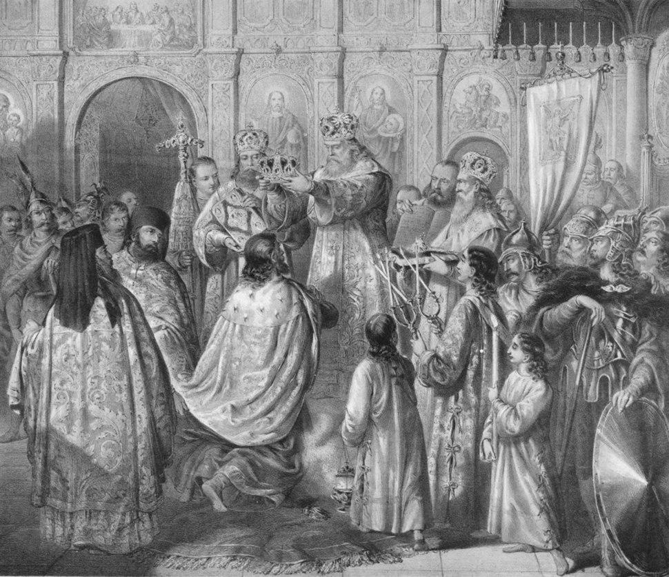 Свети Сава крунише свог брата Стефана Првовенчаног, by Anastas Jovanović