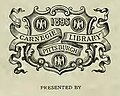"""CARNEGIE LIBRARY PITTSBURGH 1895"" bookplate - American engineer and railroad journal (IA americanengineer74newy) (page 2 crop).jpg"