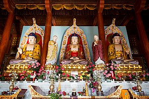 Trikaya - The Trikāya Buddha (三身) in the main hall of Shanyuan Temple (善缘寺), Liaoning Province, China.