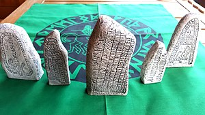 Artificial stone - Small replicas of Swedish rune stones, made of artificial stone