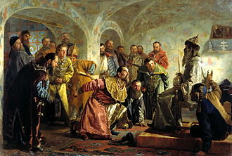 Oprichnina - The Oprichniks by Nikolai Nevrev shows the execution of the conspirator I. P. Fedorov (right) after a mock coronation.