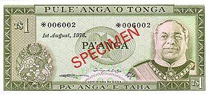 Tongan paʻanga - Image: 1 Paʻanga Schein Vorderseite