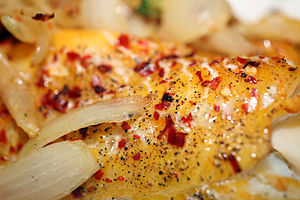 Haddock - Smoked Haddock served with onions and red peppers