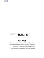 116th United States Congress H. R. 0000113 (1st session) - All-American Flag Act B - Engrossed in House.pdf