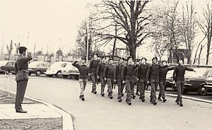 11th Battalion, Ulster Defence Regiment - A platoon of UDR soldiers salute their commanding officer at Mahon Barracks