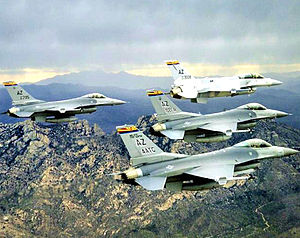 148th Fighter Squadron - 148th Fighter Squadron 4-aircraft F-16 formation