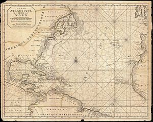 "Native American name controversy - 1693 nautical chart of the Atlantic Ocean marked with ""Route de Europe aux Indes Occidentales"" or ""West Indies"""