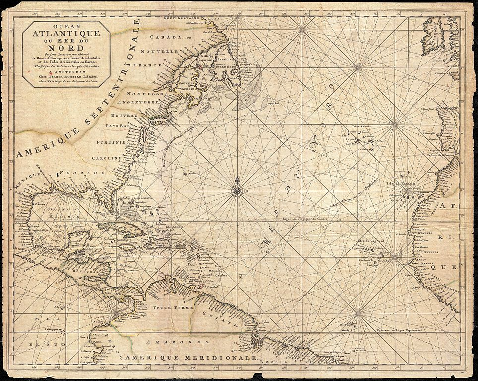 Sea Chart: 1683 Mortier Map of North America the West Indies and the ,Chart