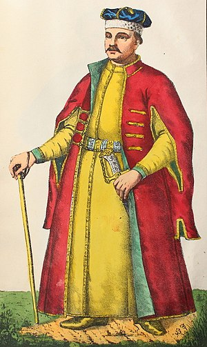 Kontusz - Noble Ukrainian Cossack in a yellow żupan and red kontusz.