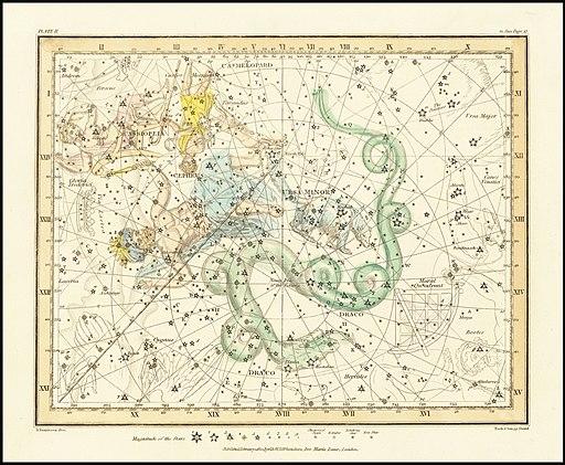 1822 - Alexander Jamieson - Ursa Minor - Little Bear also showing Cassiopeia, Draco & Cepheus
