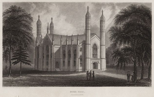 Gore Hall (Harvard College library) - 1840 engraving by George Girdler
