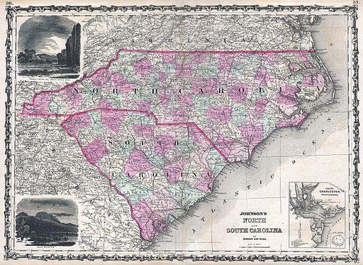 1862 Johnson Map of North Carolina and South Carolina - Geographicus - NCSC-johnson-1862