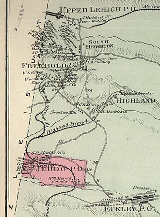 Freeland, Pennsylvania - An 1873 map of Foster Township. Freehold and South Heberton merged to create modern-day Freeland.