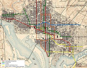 Streetcars in Washington, D.C. - Map of the Washington, D.C. Streetcar System at the end of the Horse Car era in 1888