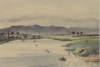 Patterson Lakes, Victoria - Watercolour painting by Robert J Hadden in 1895 of Carrum Creek (Patterson River)