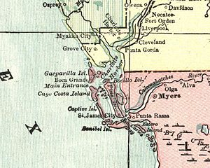 Charlotte Harbor (estuary) - Portion of a 1901 map of Charlotte Harbor by George F. Cram
