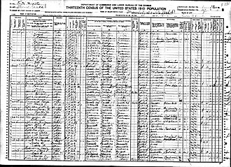 1910 United States Census - An example of a 1910 U.S. census form with August H. Runge