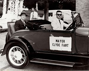 "Clyde Fant - April 30, 1962 Holiday in Dixie Parade, Mayor Clyde Fant sitting in a 1930 Ford Model ""A"" Rumble Seat Roadster waiting for the parade to begin. The driver is James W Bowen."