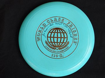 1975-1977 World Class Frisbee signatures Jim Kenner, Gail McColl, Ken Westerfield, collectively, have ten Disc Sport Hall of Fame Inductions. 1975-1977 World Class Frisbee.JPG