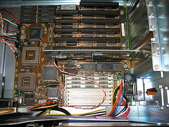 Parallel ATA - Example of a 1992 80386 PC motherboard with nothing built in other than memory, keyboard, processor, cache, realtime clock, and slots. Such basic motherboards could have been outfitted with either the ST-506 or ATA interface, but usually not both. A single 2-drive ATA interface and a floppy interface was added to this system via the 16-bit ISA card.